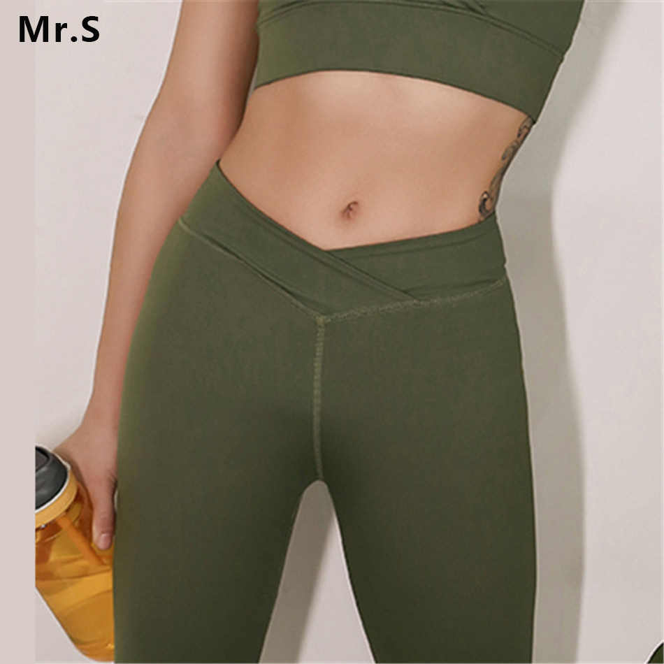2ad7854fd09da High Waist Push Up Running Yoga leggings for Women Sports Fitness  Compression Pants Gym Olive Green