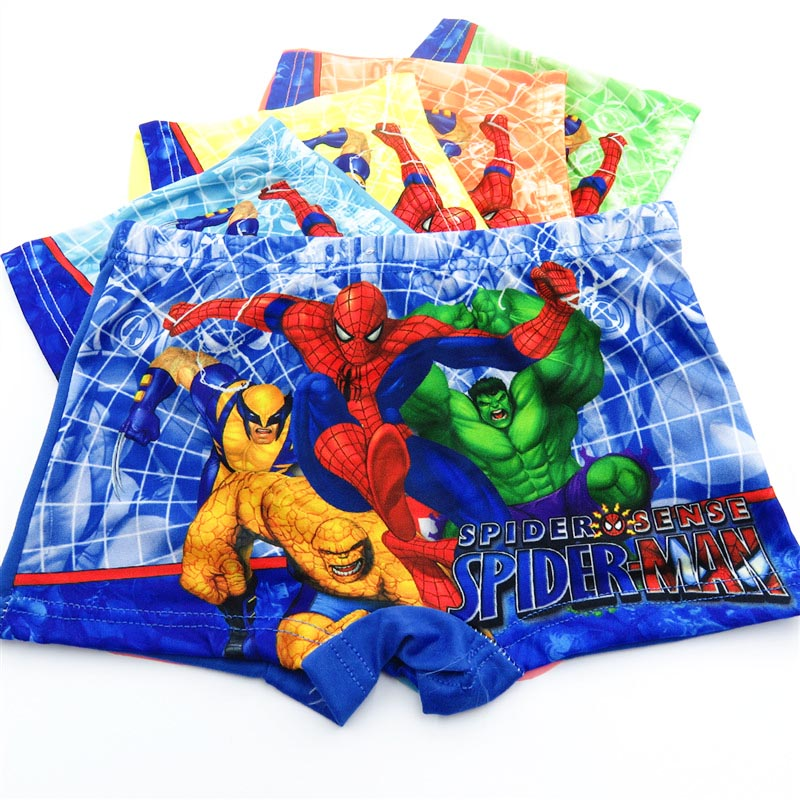 10pcs/Lot Boys Boxer Briefs Kids Underwear Baby Boy Underpants Cartoon Spiderman Soft Children Panties 3-11years Super Hero