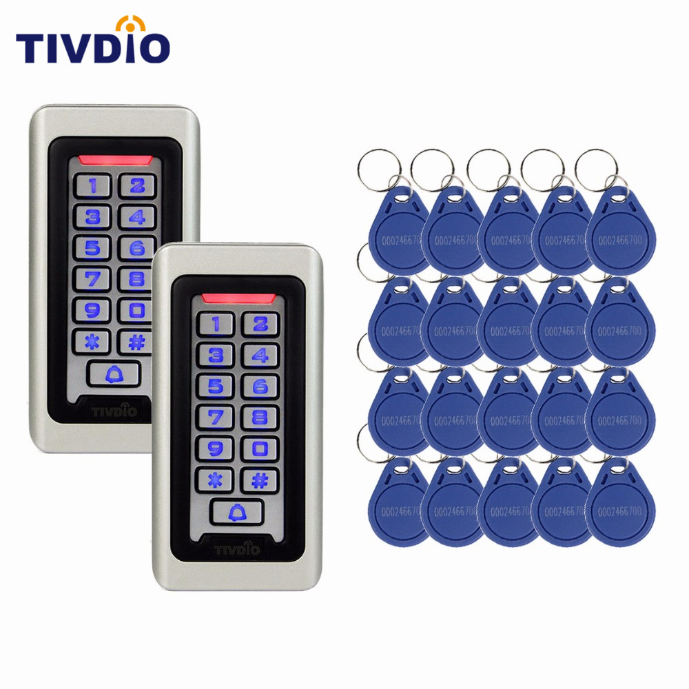 2 pcs Waterproof Metal Case Keypad For RFID Proximity Card Standalone Access Control+ 20pcs RFID Key 125KHz ID Key Keyfob 125khz rfid card smart card access control ip65 waterproof metal proximity card access control with keypad weigand in and out
