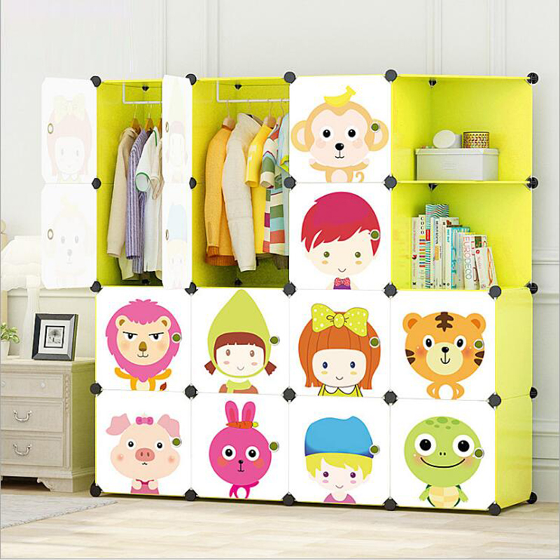 New Children's Cartoon Plastic Assembly Wardrobe Lockers DIY Storage Cabinets Closets Resin Composition Healthy For Kid Children