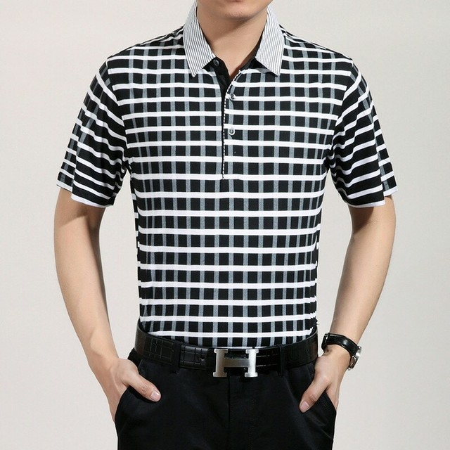 2016 Summer Style polo homme Casual men Polo shirt  Breathable Loose Plaid polo shirts Classic Business short Sleeve Polos
