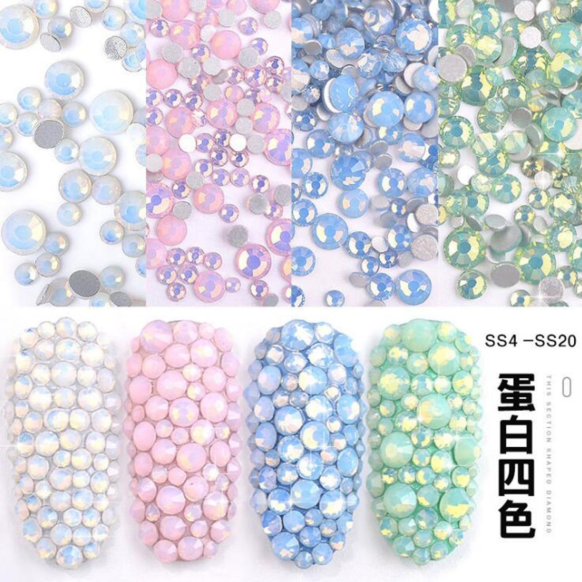 350pcs/pack 7 Sizes DIY Nail Rhinestones 3D Nail Art Decoration Snow Protein Glass Crystal Dill Diamond Manicure Ornaments