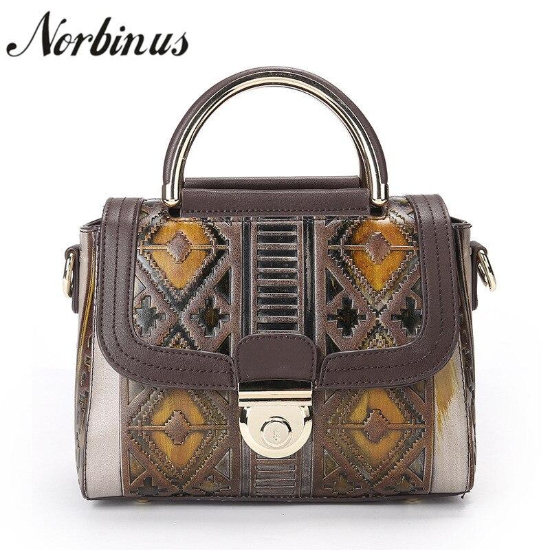 все цены на Norbinus Luxury Designer Women Handbag Vintage Genuine Leather Shoulder Bag Ladies Small Messenger Bags Female Retro Tote онлайн