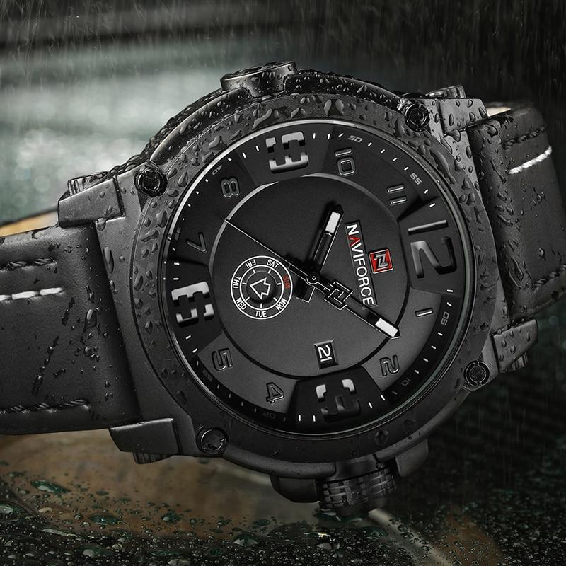 Image 3 - NAVIFORCE 9099 Mens Watches Top Brand Luxury Sport Quartz Watch Leather Strap Clock Men Waterproof Wristwatch Relogio Masculino-in Quartz Watches from Watches