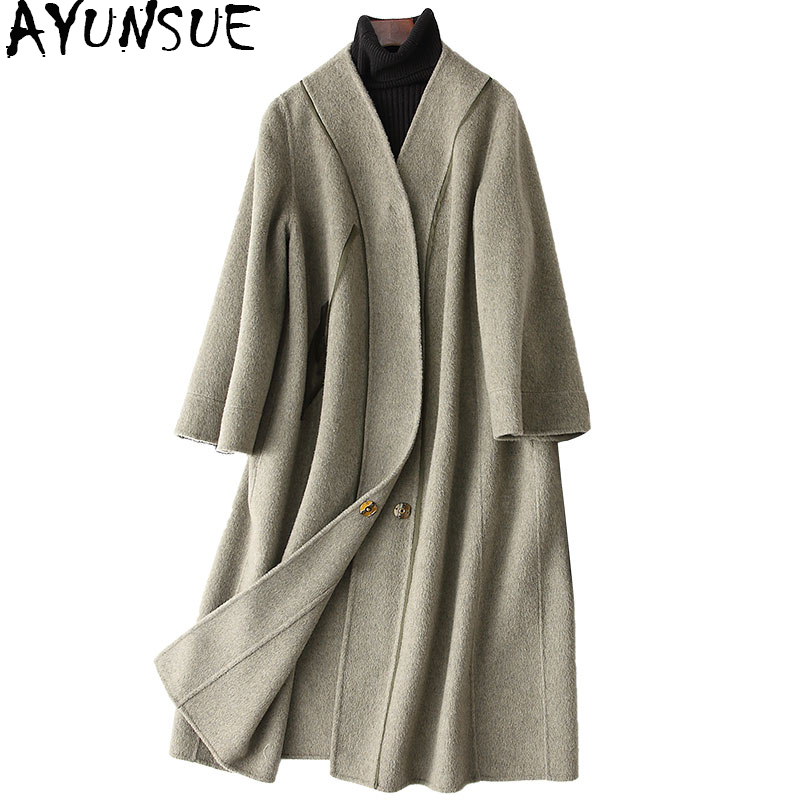 AYUNSUE Wool Coat Women 2018 Spring New Womens Cashmere Jackets Long Double Wool Coat Female Outerwear casacos 38501 WYQ1190