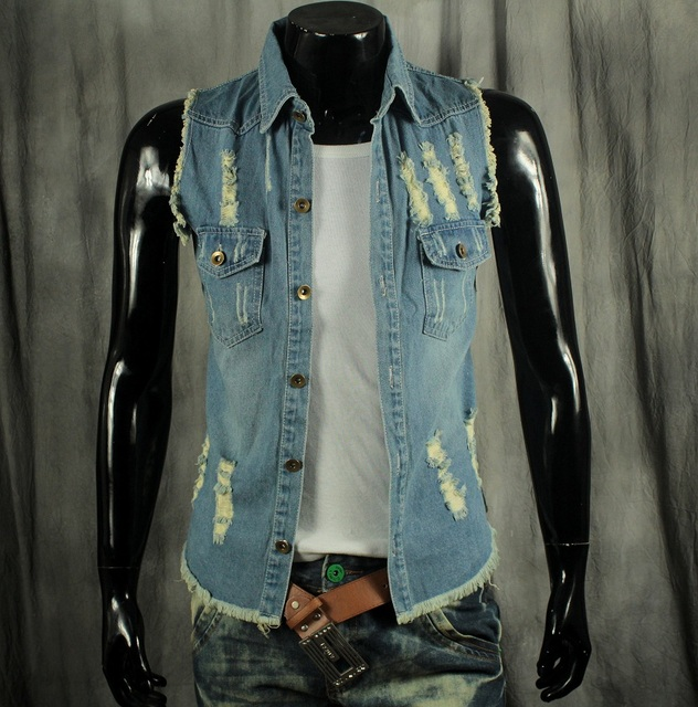 Весна осень мужчин личности отверстия джинсовый жилет человек мода стенд воротник кисточкой Begar джинсовая жилетка все-матч джинсовой одежды