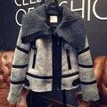Women Lamb Wool Jacket Basic Coats Parka Grey Leather Winter Jacket Female Wadded Padded Jacket,Manteau Femme Outerwear MZ1140