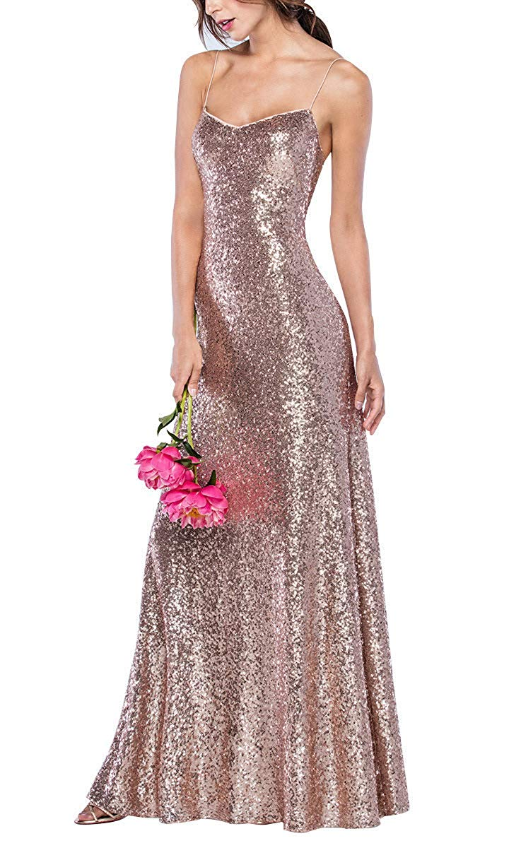 Fashion Rose Gold Spaghetti Straps Sequin   Bridesmaid     Dress   Women 2019 Floor Length Prom Gown Custom Made