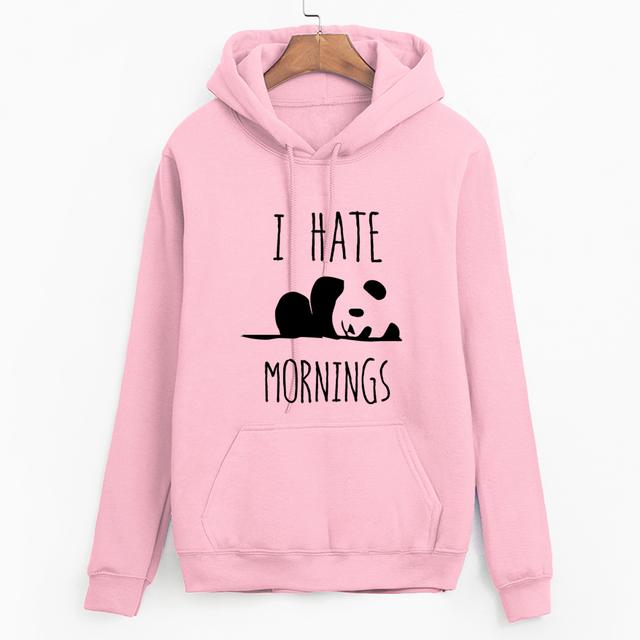 Hoodies Panda I HATE MORNINGS sweatshirt