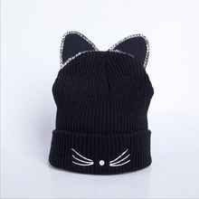 BINGYUANHAOXUAN Winter Beanies Solid Color Hat Women Plain Warm Soft Beanie Skull Knit Cap Hats Knitted Cat Ear Hats For Women