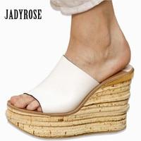 White Black Women Wedge Slippers Sexy 12CM High Heels Platform Pums Gladiator Sandals Ladies Slides Wedges