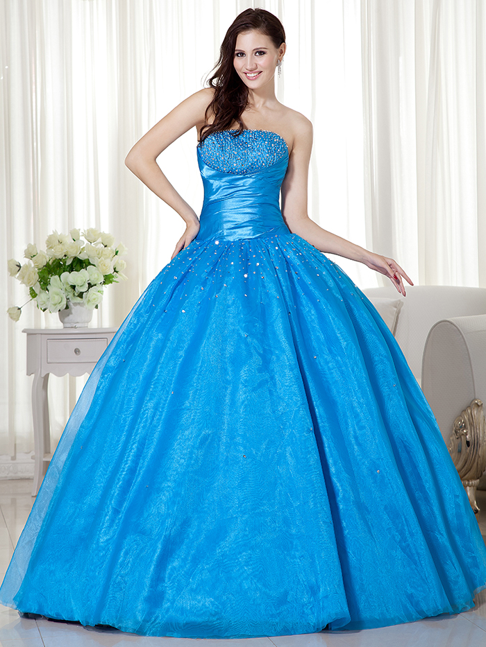 Simple Ball Gown Blue Organza Girls Prom Gowns Strapless Beaded ...