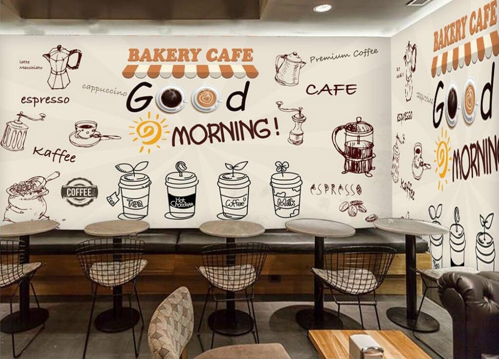 Buy custom retro wallpaper coffee 3d for Food bar 36 cafe