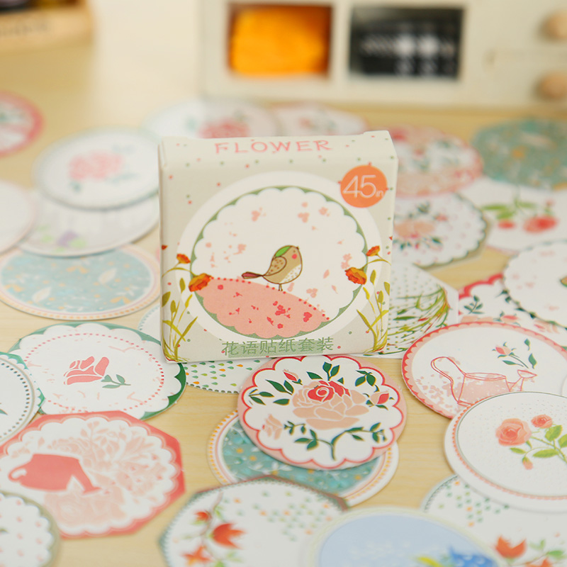 45 pcs/box mini paper sticker decoration album diary scrapbooking sealing sticker kawaii  stationery