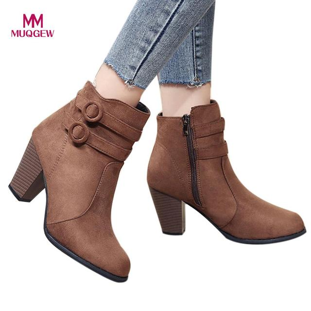 Women Shoes 2018 New Fashion Booots Girls Belt Buckle Short Boots Knight Thick Heel Martinas Shoes Ankle Boots Zipper Botas