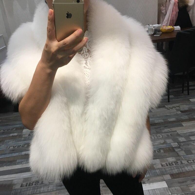 Marque de luxe véritable fourrure de renard châle pour les femmes 100% réel fourrure de renard blanc capes et wraps pour le mariage Mariée d'hiver outwear pashmina