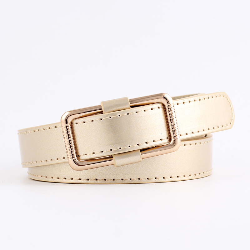 Female Straps Leather Belt Waistband Cummerbund For Apparel Accessories Candy Color Metal Buckle Thin Casual Belt
