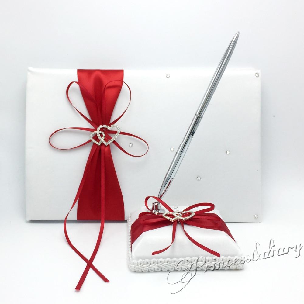 OurDecor 4 pièces/ensemble rouge décoration de mariage nuptiale Satin anneau oreiller + panier de fleurs + livre d'or + ensemble de stylos fournitures de produits de mariage - 3