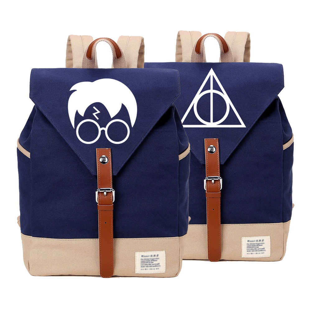 WISHOT   Harry Potter backpack Canvas bag  SchoolBag travel Shoulder Bag Rucksacks for Teenagenrs women girls
