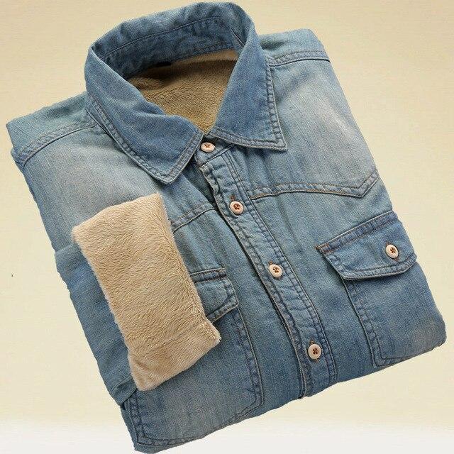 新しい冬厚いデニムシャツ長袖暖かいジーンズシャツソフト快適なスリムフィットターンダウン襟冬服
