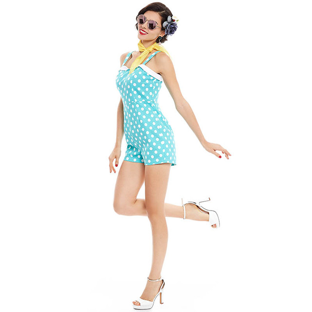 2017 Summer Vintage Backless Jumpsuits Dot Light Green Jumpsuits Sleeveless Straight Women Sexy Retro Party Suspenders Jumpsuit