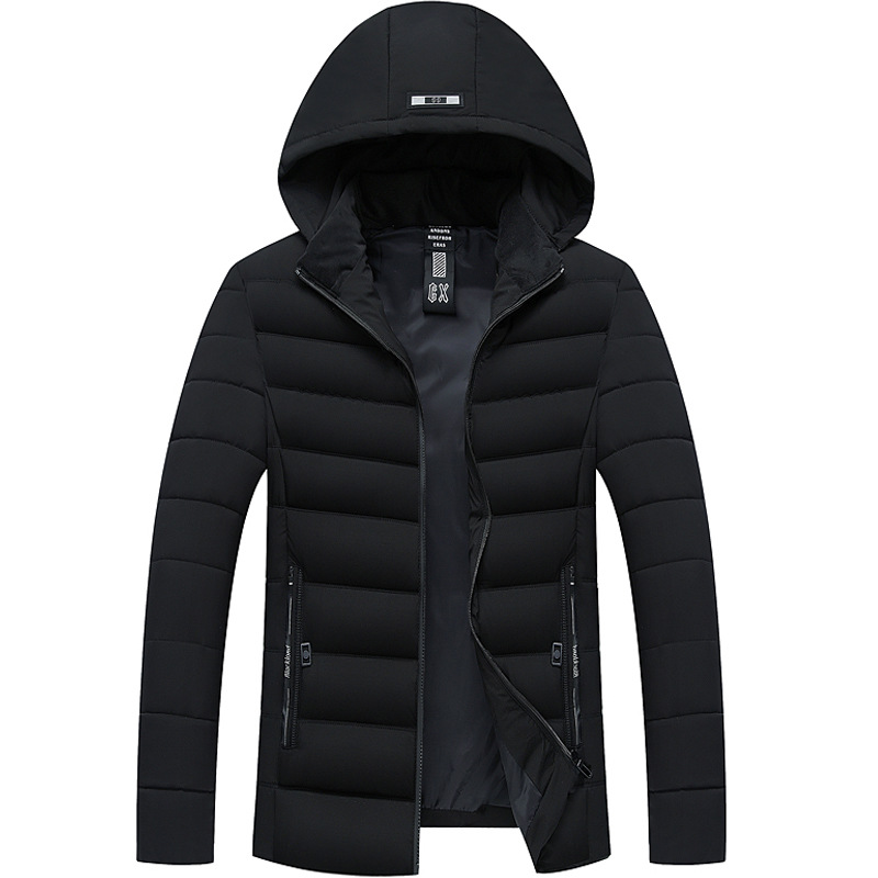 Men's Casual Parkas Solid Color Cotton Padded Winter Jacket Men Hooded Thick Warm Overcoat Man Overwear Streetwear
