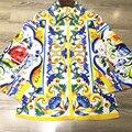 2017 Весна Лето Стиль Взлетно-Посадочной Полосы Дизайнер женские Рубашки Высокого Качества С Длинными Рукавами Цветочный Печати Мода Повседневная Блузки