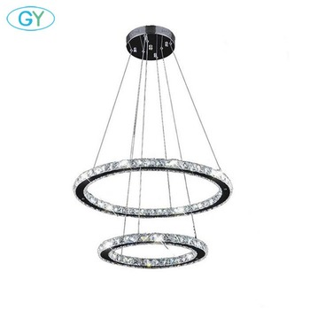 Moderno 45W D40cm + D60cm 2 candelabro de anillo blanco cálido frío LED techo colgante iluminación para cocina mesa de comedor hogar lustre