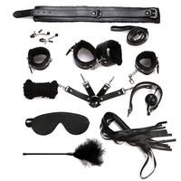 Bondage Kit 10 Pcs/set Sexy Adult Pu Leather Bdsm Sex Bondage Set Handcuffs Ankle Cuffs Whip Rope Mask Erotic Toys For Couples