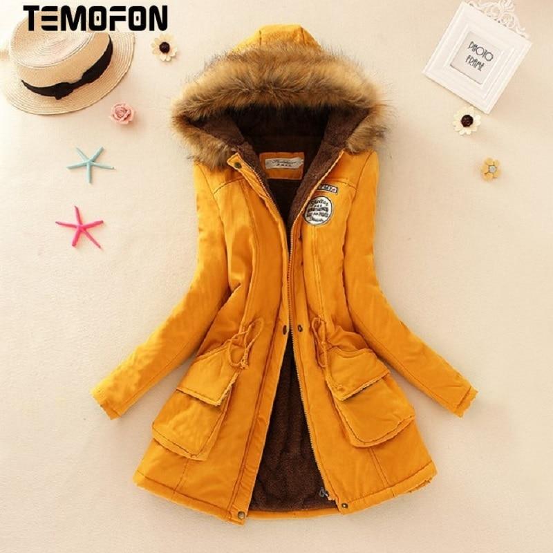 TEMOFON Winter Basic Jackets Coats Women Warm Parka Cotton Hooded Solid Plus Size Long Jacket Female