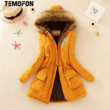 TEMOFON Women Winter Basic Jackets Warm Cotton Casual Coats Hooded Solid Parka Colorful Plus Female Long Slim Jacket EJT142