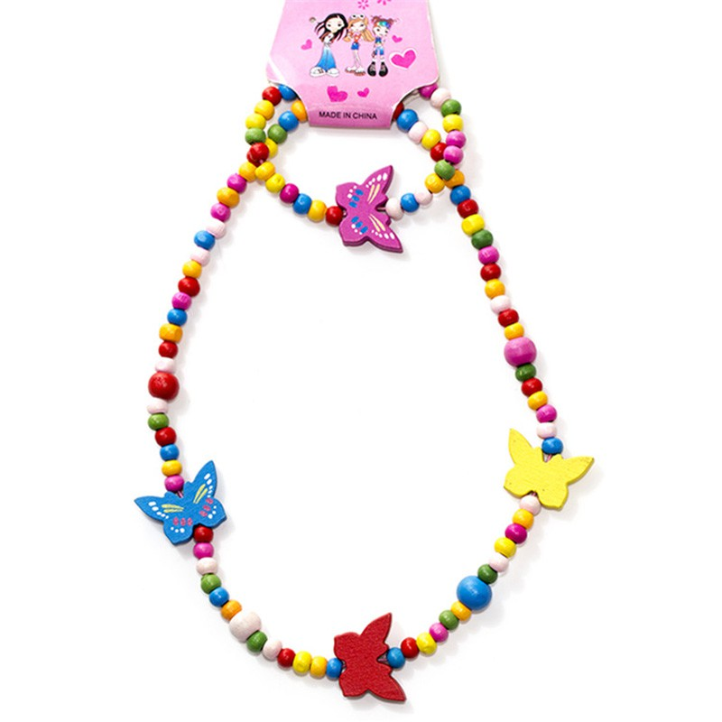 NEW 2 pcs Princess Necklaces Girls Party Fillers Party Toys Play House Toys Colorful Beads Butterfley