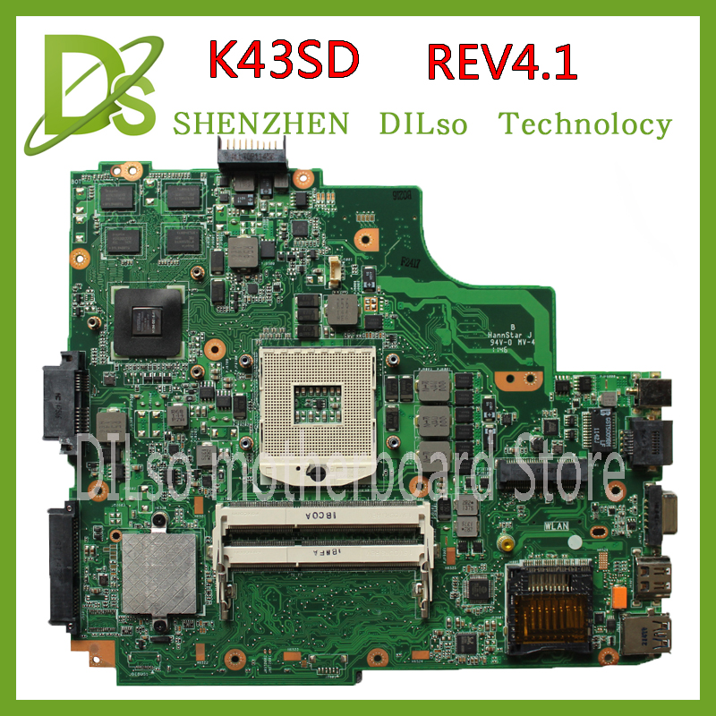 KEFU K43SD laptop motherboard for ASUS K43SD K43E A43E mianboard original REV:4.1 + 2 DDR3 slot Test motherboard laptop non integrated motherboard for k43sd k43sd main board free shipping