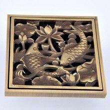 Antique Brass Anti-odor Floor Drain Fish Design Shower Drain 4