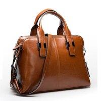 Gesunry Shoulder Leather Big Bag Simple Wild Three Mezzanine Large Size Leather Ladies Bag Handbag
