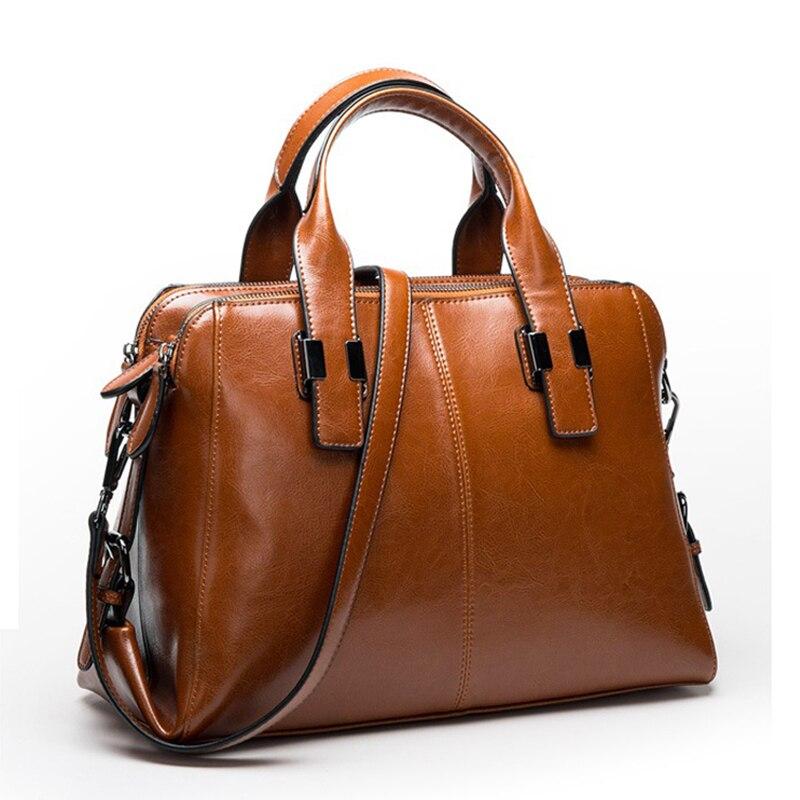 本物の牛革ハンドバッグの女性の本革バッグトートバッグメッセンジャーバッグ Hign 品質のデザイナーの高級ブランドバッグ  グループ上の スーツケース & バッグ からの トップハンドルバッグ の中 1