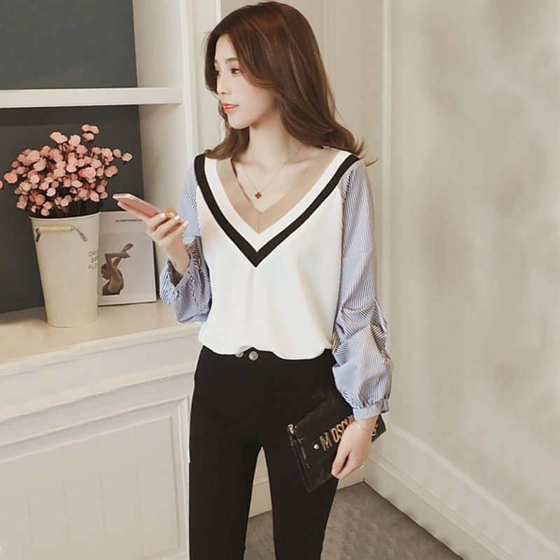 2019 Women's Autumn Casual Blouses Striped Patchwork Shirt Tops V-Neck Lantern Sleeve Fashion Ladies' Shirts Long Sleeve Blouses