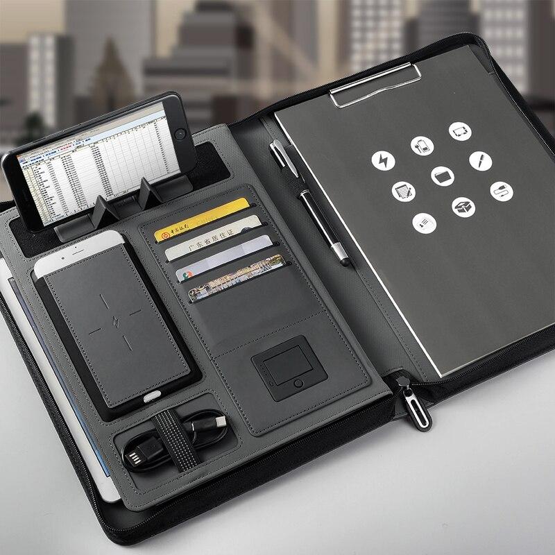 Carnet de voyage d'affaires créatif A5 zippé avec fil 5000 mAh/bloc-notes de sac de téléphone portable de puissance de charge sans fil