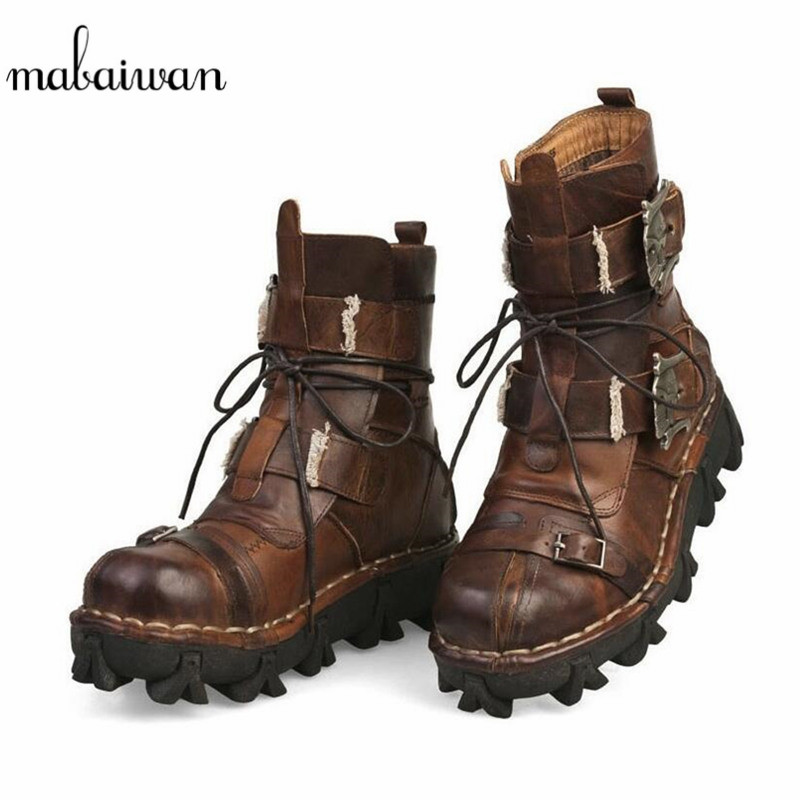 42346f174e09e1 Mabaiwan 2019 Men's Cowhide Genuine Leather Shoes Motorcycle Military  Combat Boots Men Lace Up Punk Rocker Style Riding Boots