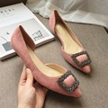 Sexy Pink Pointed Toe Women's Two Piece Low Heels Pumps Flock Rhinestone Slip On Woman Heels Shoes Ladies Single Shoes Plus Size