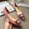 Sexy Pink Punta estrecha de Las Mujeres de Dos Piezas de Tacón Bajo Las Bombas Flock Rhinestone Slip On Mujer Tacones Zapatos de Las Señoras Solos Zapatos Más El Tamaño