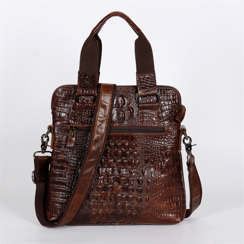 Alligator Pattern Shiny Cowhide Genuine Leather Small Briefcase Business Mens Bag Work Tote Handbag Maleta Portfolio Negotiate