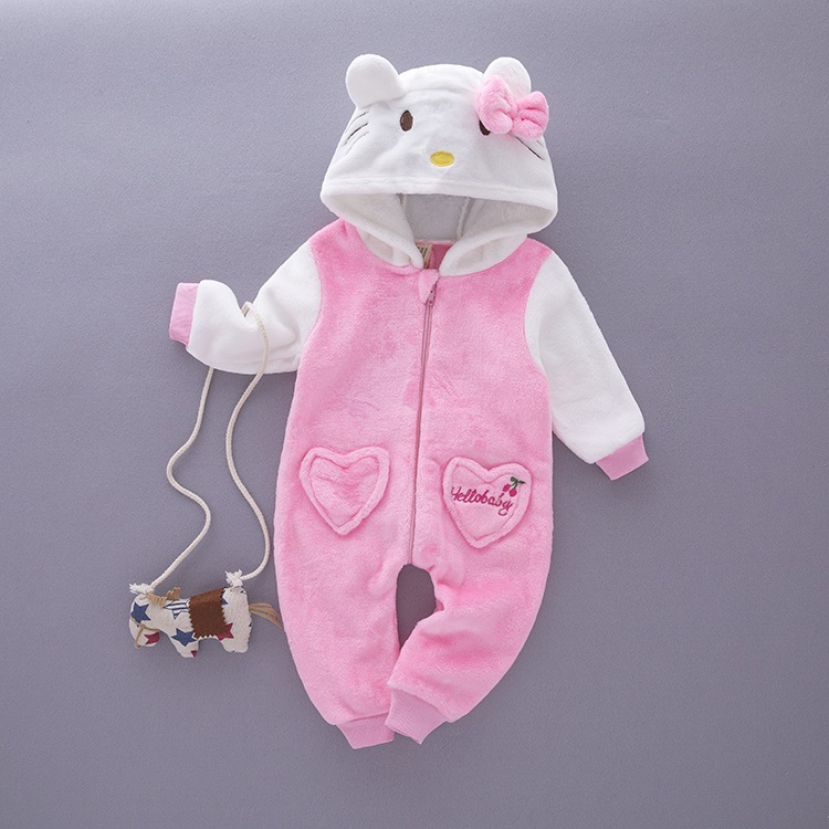 Winter Baby Cute Cartoon Pink Cat Jeans Single Layer Flannel Long Sleeves Piece Suit / Climbing Clothes GXJ0134