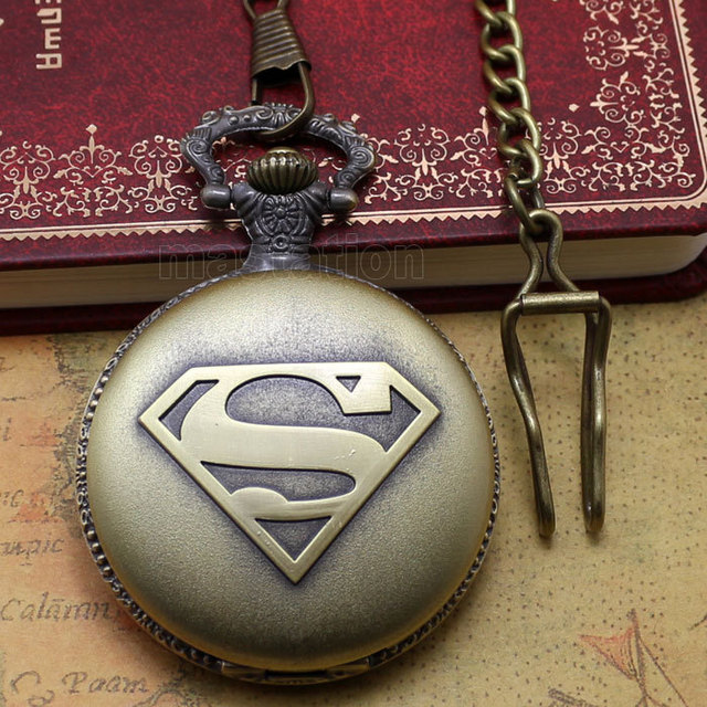 fashion classic superman pocket watch with chian Coupon for wholesale price good