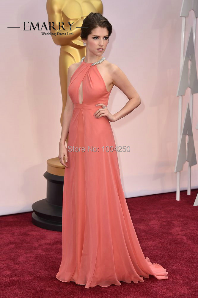 Anna Kendrick Dress Oscars 2016 Sexy Beaded Halter Neckline Pleated Long  Light Pink Chiffon Celebrity Dress Evening Party Gown-in Celebrity-Inspired  Dresses ... 3b48452a8a7c