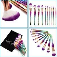 10Pcs Elailite Professional Make Up Brushes Set Foundation Brushes Makeup Rosegold Synthetic Hair