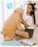 stuffed plush toy huge 110cm cartoon prone brown polar bear plush toy soft throw pillow birthday gift b0485