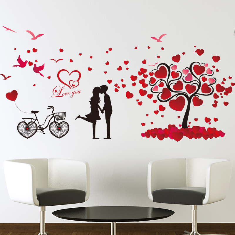 Cute Red Black Cartoon Love Tree Lovers Love Cycling Bedroom Bedside  Background Wall Stickers Happiness I Love You Home Decor In Wall Stickers  From Home ...
