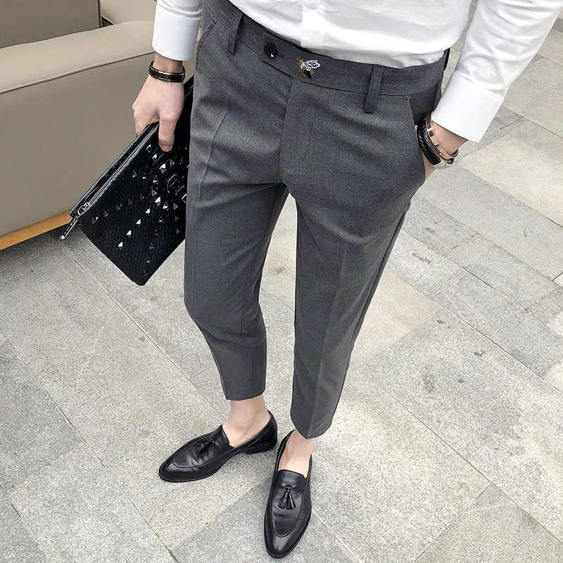 17ff42572a ... Perfume Masculino Grey Mens Dress Pants Slim Fit Black Formal Pants For  Men Trouser Office Calca ...