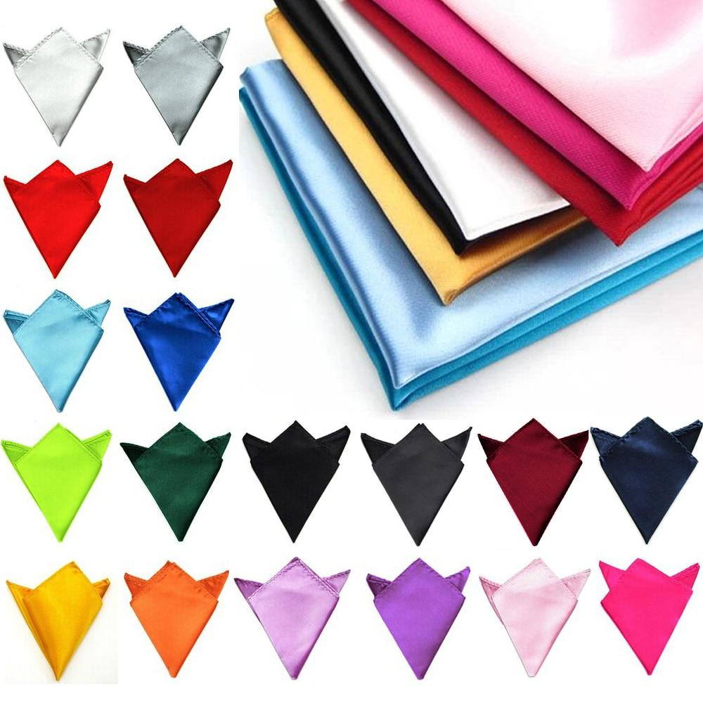 Men Classic Satin Solid Pocket Square Fashion Wedding Party Hanky Handkerchief YYTIE0010